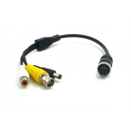 iCustodian® CCTV 4 PIN Aviation to BNC cable with Video, Audio and DC Power.