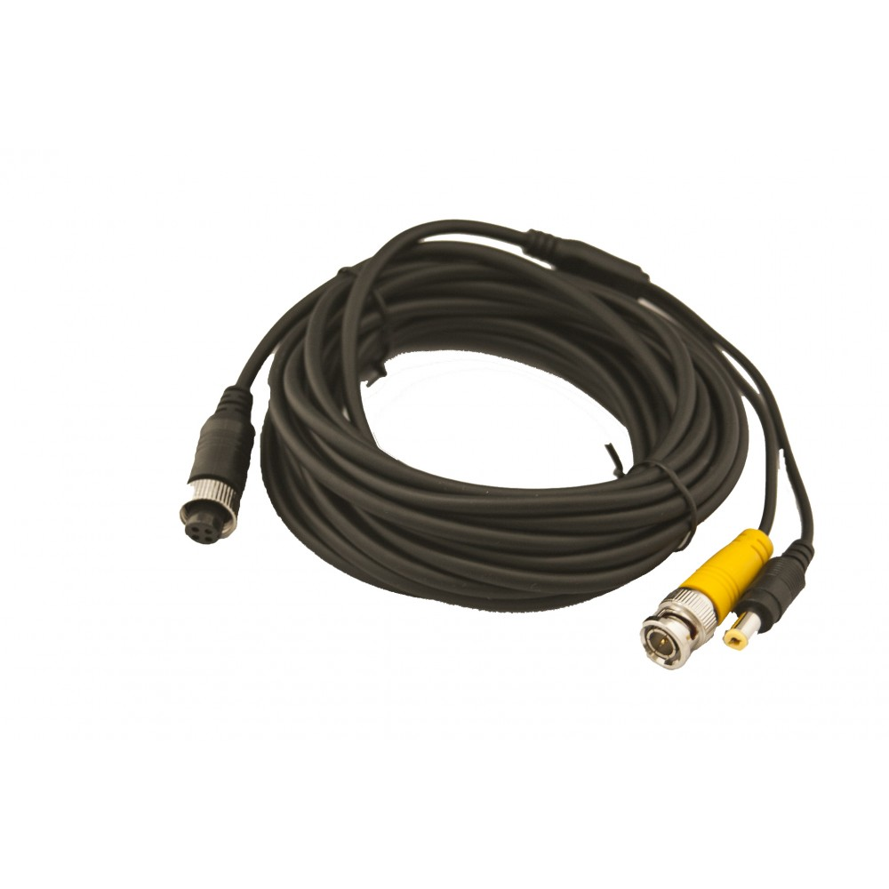 iCustodian® 4 PIN Aviation to BNC Video and DC Power CCTV Cable.