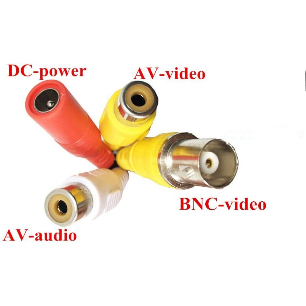 iCustodian® 4 PIN Aviation to RCA & BNC Video, Audio and DC Power CCTV Cable.
