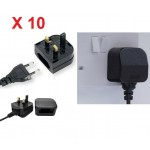 X10 Fused EU 2-Pin to UK-3 Pin Main Power Plug Adapter